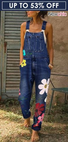 SZMALL Newest 2020 Sleeveless Flower Women Jeans Jumpsuit Fashion female Streetwear Playsuit Denim One Piece Rompers Clothes Jeans Overall, Overalls Fashion, Denim Fashion, Overalls Style, Womens Denim Overalls, Fashion Jumpsuits, Bib Overalls, Women's Fashion, Denim Overalls