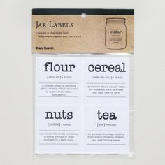 One of my favorite discoveries at WorldMarket.com: Jar Labels, Set of 12