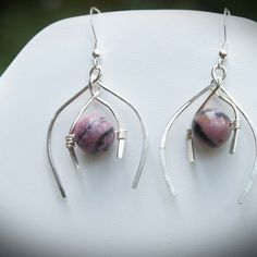 Silver and Rhodondite Earrings SOLD