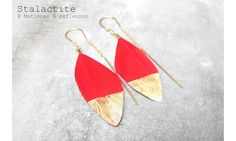Stalactite boucles Squaw plume rouge #stalactite #earrings #red