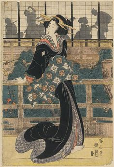 Title: Rōka no geigi. Title Translation: Entertainer standing on a veranda.  Creator: Kikukawa, Eizan, 1787-1867. Date Published: Between 1809 and 1813. Medium: 1 print: woodcut, color.  Summary: Print shows an actor or actress as a woman, full-length portrait, standing on a veranda, facing left, with several hairpins; behind her, across a courtyard, are the silhouettes of persons in an illuminated room.