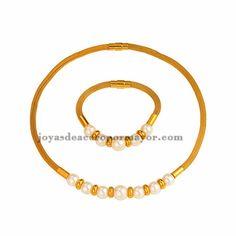collar y bracelete dorado con perla en acero inoxidable para mujer -SSNEG481657