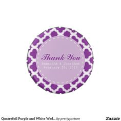 Quatrefoil Purple and White Wedding Candy Tin