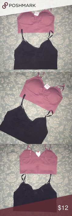 🎊WEEKEND SALE🎊 Bralette Bundle The mauve is brand new with tags and removable pads and the black is pre-owned, without pads but in excellent condition.  They're both medium and have adjustable shoulder straps. Black Fushsia Intimates & Sleepwear Bras