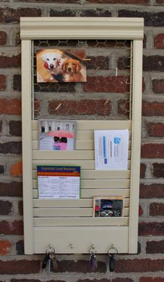 Repurposed Shutter Into Key Mail Note Holder by VintageWoodenShoe, $32.00