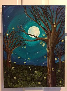 Original Painting Fireflies Acrylic Painting Blue Swirl