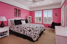 Awesome Black And Pink Bedroom Ideas With Bedroom Black White And Pink Bedroom Decorating Ideas Pink Girl Room Pink Bedroom Walls, Pink Bedroom Decor, Pink Bedroom For Girls, Pink Bedrooms, Teen Girl Rooms, Teenage Room, Bedroom Black, Pink Room, Trendy Bedroom