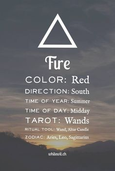 The fire element correspondences in magic, spells and witchcraft.