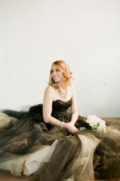 stunning black wedding dress