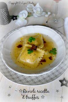 Ravioli aux morilles, truffes et ricotta dans un bouillon #végétarien { Epices & moi }