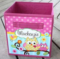 Happy Owl Birdie Fabric Bin Girl's Bedroom Baby Nursery Organizer for Toys or Clothing