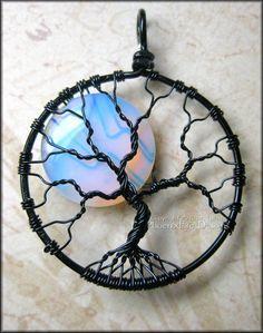 Rainbow Moonstone Full Moon Tree of Life Pendant in Black Wire Wrapped (Luna Lunar Night Sky Mystical). $50.00, via Etsy.