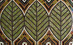 Three leaves backsplash restaurant in Colorado. Glass mosaic.