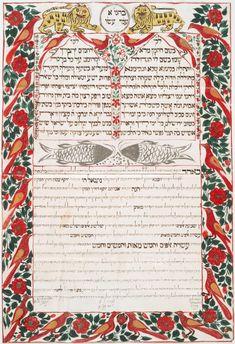 """Illuminated Hebrew Manuscripts"" Ketubbah. Calcutta, 1866"