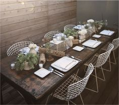 Outdoor rustic, modern dining
