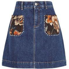Stella McCartney Dark Blue Denim Mini Skirt - Size 10 (£525) ❤ liked on Polyvore featuring skirts, mini skirts, blue denim mini skirt, denim miniskirt, denim skirt, dark blue skirt and mini skirt