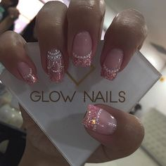 Image may contain: one or more people and closeup French Acrylic Nails, Cute Acrylic Nails, Cute Nails, Sparkle Nails, Bling Nails, My Nails, Easter Nail Designs, Fall Nail Designs, Perfect Nails