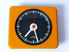 Original 1970s KRups Wall Clock Eames Panton Orange Space Age 60s Era