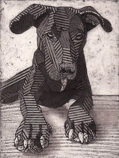 'Labrador', intaglio collagraph by Bonnie Murray Schwarzer Labrador Retriever, Black Labrador Retriever, Collagraph Printmaking, Dog Quilts, Cardboard Art, Cardboard Relief, Hippie Art, Animal Sketches, Elements Of Art