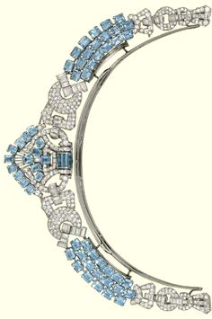 AN ART DECO AQUAMARINE AND DIAMOND NECKLACE, BY LACLOCHE FRÈRES  Of geometric design, the shield-shaped central panel mounted with rectangular-shaped aquamarines and circular and baguette-cut diamond detail to the three row aquamarine connections interspersed with diamond-set buckle panels, to the two row aquamarine backchain and diamond-set clasp, converts to form a halo tiara, the front panel detaches to form a brooch , circa 1930.