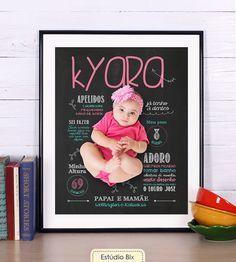 Poster Lousa Ilustrada - poster, lousa, chalkboard, aniversário, criança, 1 ano, primeiro aninho, 1 aninho, smash the cake