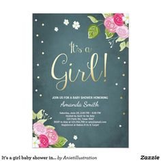 It's a girl baby shower invitation Pink and gold