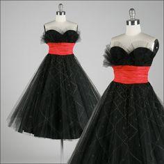 Vintage 1950s Dress . Black Tulle . Red . Glitter . Flocking . Flocked . Shelf Bust . Polka Dots . Shirred . Full Skirt . XS/S . 1486. $245.00, via Etsy.