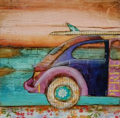 "Volkswagen and Surfboard- ""The Perfect Day""-  Fine art print 5x7. $10.00, via Etsy."