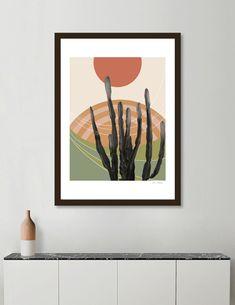 Discover «Cactus in the Desert Modern Southwest Decor, Southwestern Art, Aztec Home Decor, Artwork For Living Room, Boho Chic Living Room, Art Decor, Left Coast, Painted Bottles, Art Print