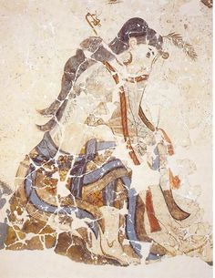 Wounded woman. 1600 BC. Akrotiri, Thera.   (x) Girl from Xeste 3 fresco cycle  Procession with wounded foot.