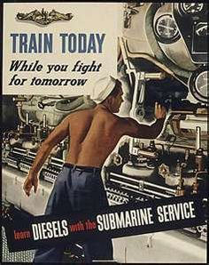 Submarine Service Recruiting Poster From WWII.