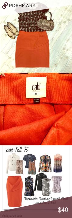 NWOT CAbi Burnt Orange Pencil Skirt Never Worn CAbi Burnt orange pencil skirt with flattering flap in front. CAbi Skirts Pencil