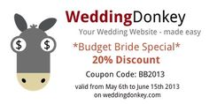 Budget Bride Special. Create your own wedding website now and save 20%.