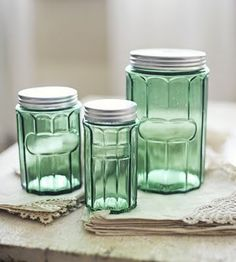 How Pretty These Green Glass Canisters Would Look Above My Cherry Cabinets!