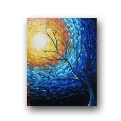 Impressionist Art Blue Painting Tree by heatherdaypaintings