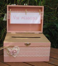 Boite - urne mariage bois gamme  mariage rose poudré  : Autres pièces pour créations par la-mariee-inspiree