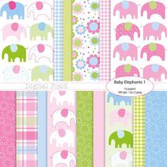 INSTANT DOWNLOAD Baby Elephants digital by digitalfield on Etsy, $3.50