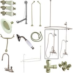 Kingston Brass Vintage High Rise Gooseneck Clawfoot Tub and Shower Package with Porcelain Lever Handles, Satin Nickel