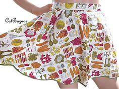 Vintage Apron Mid Century Apron 50s Apron Vegetable by CatBazaar