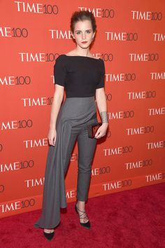 Who: Emma Watson When: 4/21/2015 Why: I am a huge fan of pants on the red carpet and Emma Watson does it perfectly once again in Dior. She is really working this look.   - ELLE.com