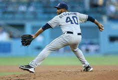 Odrisamer Despaigne Photos Photos -  Odrisamer Despaigne #40 the San Diego Padres the Los Angeles Dodgers at Dodger Stadium on July 10, 2014 in Los Angeles, California. - San Diego Padres v Los Angeles Dodgers