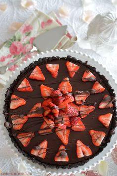 No-Bake Chocolate Strawberry Ganache Tart with Chocolate Cookie Crust