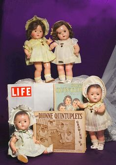 "I have no idea what's going on here, but it's kind of creepy, especially since there are only four dolls, but those photos say ""quintuplets"""