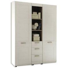 Kleiderschrank LANDI - Pinie-weiß - 130x194 cm