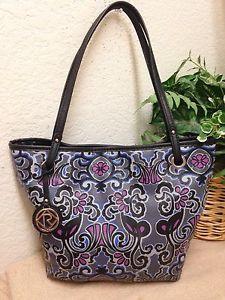 f1dd86f0d4 Relic Gray Floral Pebble Faux Leather Tote Shopper Bag Shoulder Handbag Fob  VGUC