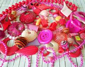 Big Destash Lot of Pink & Red Plastic Beads Charms Buttons and More