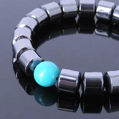 Men's Bracelet Healing Gemstone 10x11mm Hematite 12mm Turquoise Handmade 100M #Handmade #MensHealingGemstoneBracelet