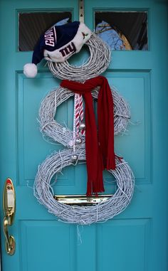 NY Giants Snowman Wreath by Moose Mouse Creations
