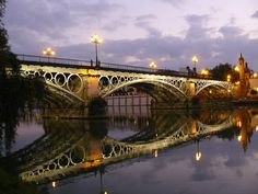 Puente de Triana bridge, in the Los Remidios neighborhood of Seville, Andalucia, Spain
