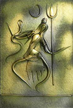 Shiva (New Tribal Art) - Wall Hanging - Resin Statues (Poly Resin on Hardboard) Shiva Art, Krishna Art, Hindu Art, Hare Krishna, Clay Wall Art, Mural Wall Art, Hanging Wall Art, Art Walls, Clay Art